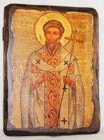 Григорий Двоеслов, Святитель, Папа Римский, икона под старину, сургуч (13 Х 17)