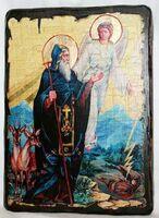 Давид Гареджийский, икона под старину, сургуч (13 Х 17)