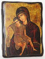 Достойно есть Б.М. (светлый фон), икона под старину, сургуч (13 Х 17)