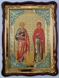 Иоаким и Анна, в фигурном киоте, сбагетом. Большая Храмовая икона (82 Х 114)