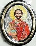Иоанн Воин. Икона настольная малая, зол. кант, овал. (50 Х 65)