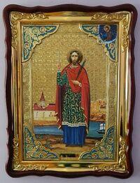 Иоанн Сочавский, в фигурном киоте, сбагетом. Большая Храмовая икона (82 Х 114)