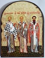 Николай Чудотворец, Иоанн Милостивый, Василий Исповедник, икона под старину JERUSALEM, арка (13 Х 17)