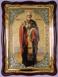 Николай Чудотворец, без митры, темн. од., (рост), с багетом. Большая Храмовая икона (82 х  114)