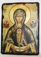 Помощница в родах Б.М., икона под старину, сургуч (13 Х 17)