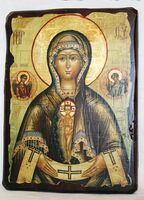 Помощница в родах Б.М., икона под старину, сургуч (17 Х 23)