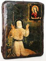 Серафим Саровский, моление на камне, икона под старину, сургуч (13 Х 17)