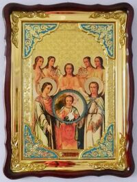 Собор Арх. Михаила, в фигурном киоте, с багетом. Храмовая икона (82 Х 114)