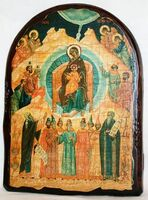 Собор Богородицы, икона под старину, сургуч, АРКА (17 Х 24)