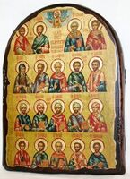 Собор целителей, икона под старину, сургуч, АРКА (17 Х 24)