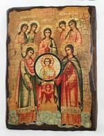 Собор архангела Михаила, икона под старину, сургуч (17 Х 23)