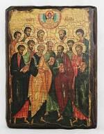 Собор 12 апостолов, икона под старину, сургуч (17 Х 23)
