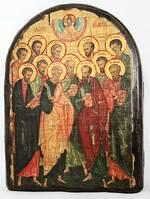 Собор 12 апостолов, икона под старину, сургуч, АРКА (17 Х 24)