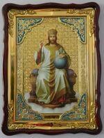 Спаситель на троне, в фигурном киоте, с багетом. Большая Храмовая икона (82 Х 114)