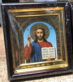 Спаситель, икона в деревянной рамке, средняя, арка 20 Х 23