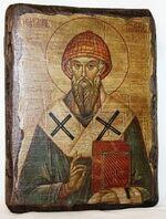 Спиридон Тримифунтский (пояс), икона под старину, сургуч (13 Х 17)