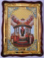 Семистолпная Б.М., в фигурном киоте, с багетом. Храмовая икона (60 Х 80)