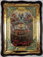 Страшный суд, в фигурном киоте, с багетом. Большая Храмовая икона (82 Х 114)