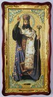 Тихон Задонский (рост), в фигурном киоте, с багетом. Большая Храмовая икона (61 х 112)