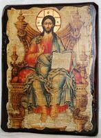 Вседержитель на троне, икона под старину, сургуч (13 Х 17)