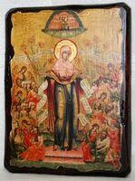 Всех скорбящих радость Б.М., икона под старину, сургуч (17 Х 23)