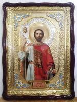 Александр Невский, в фигурном киоте, с багетом. Храмовая икона (60 Х 80)