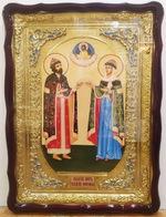 Петр и Феврония, в фигурном киоте, с багетом. Храмовая икона (60 Х 80)