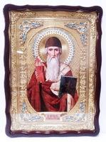 Спиридон Тримифунтский (плинфа, красн. одеяние, паст. ш.), в фигурном киоте, с багетом. Храмовая икона 60 Х 80 см.