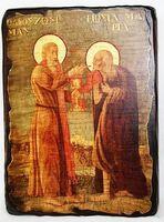 Мария Египетская и Зосима Палестинский, икона под старину, сургуч (13 Х 17)