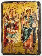 Михаил и Гавриил, икона под старину, сургуч (13 Х 17)