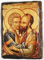 Петр и Павел (пояс), икона под старину, сургуч (13 Х 17)