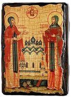 Петр и Феврония, икона под старину, сургуч (8 Х 10)