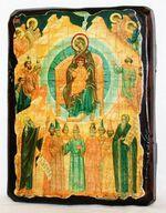 Собор Богородицы, икона под старину, сургуч (17 Х 23)