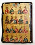 Собор целителей, икона под старину, сургуч (13 Х 17)