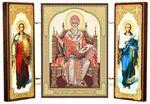 Складень МДФ (22), тройной, Спиридон Тримифунтский с архангелами, 21 Х 12 см.