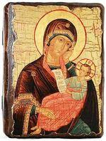 Утоли моя печали Б.М., икона под старину, сургуч (13 Х 17)