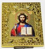 Спаситель. Икона настольная малая, золотой оклад, прямоуг., 8 Х 6,5 см.