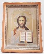 Господь Вседержитель, светлый фигурный киот, с багетом. Храмовая икона (44 Х 57)
