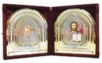 Складень бархатный (Б-12-БУ) цвет бордовый, узор, не вынимающийся лик, арка 15х18