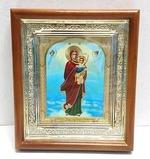 Благодатное небо Б.М., икона в деревянной рамке, малая, арка 15 Х 17