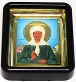 Матрона Московская. Икона настольная малая, черный киот, прямоуг., 6 Х 8 см.