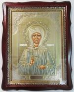 Матрона Московская, тёмный фигурный киот, с багетом. Храмовая икона (44 Х 57)