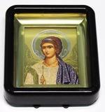 Ангел Хранитель. Икона настольная малая, черный киот, прямоуг., 6 Х 8 см.