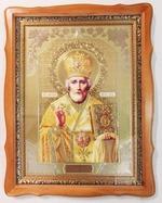 Николай Чудотворец, светлый фигурный киот, с багетом. Храмовая икона (44 Х 57)