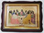 Тайная вечеря, в фигурном киоте, с багетом. Храмовая икона (44 Х 57)