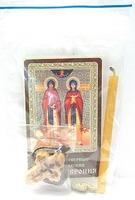 Петр и Феврония. Набор для домашней молитвы (Zip-Lock). Лик, молитва, свечка, ладан, крестик