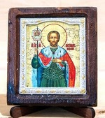 Александр Невский, Икона Византикос, полуоклад, 8Х6
