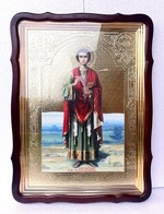 Пантелеймон (рост), в фигурном киоте, с багетом. Храмовая икона 60 Х 80 см.