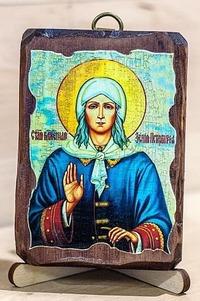 Ксения Петербургская, икона под старину, сургуч (8 Х 10)