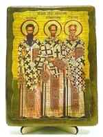 Три святителя Василий Великий, Григорий Богослов и Иоанн Златоуст, икона под старину, на дереве (13х17)